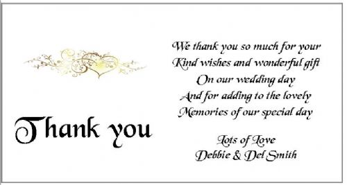 Thank You Gift Cards Wedding Personalised -  Heart Scroll  Design x 10